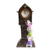Композиция время Часы с белыми мышками L9 W16 H34 см