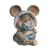 Фигурка декоративная Мышонок-малыш с пустышкой (серый) L6,5 W8 H9 см