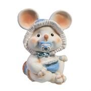 Фигурка декоративная Мышонок-малыш с пустышкой (белый) L6,5 W8 H9 см
