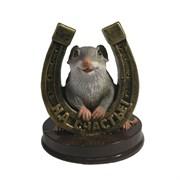 Фигурка декоративная Крыса с бронзовой подковой На счастье (серый) L7 W7 H9,5 см