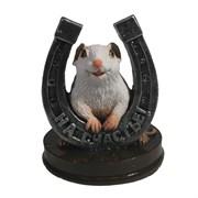 Фигурка декоративная Крыса с серебряной подковой На счастье (белый) L7 W7 H9,5 см