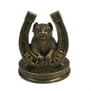 Фигурка декоративная Крыса с подковой На счастье (бронза) L7 W7 H9,5 см