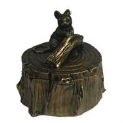 Шкатулка Мышка на пеньке (золото) L11W11H11