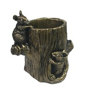 Изделие декоративное Карандашница Мышки на бревне (золото) L10W10H13