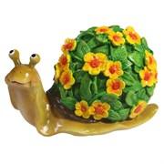 Изделие декоративное Улитка резная (акрил, цветы желтые) L14W10H12
