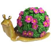Изделие декоративное Улитка резная (акрил, цветы розовые) L14W10H12