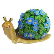 Изделие декоративное Улитка резная (акрил, цветы голубые) L14W10H12