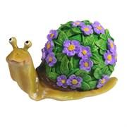 Изделие декоративное Улитка резная (акрил, цветы сиреневые) L14W10H12