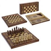 "Игра настольная 3 в 1  ""Махагон"" (шахматы, шашки, нарды), L39 W19,5 H4,5 см, (б/инд.уп)"