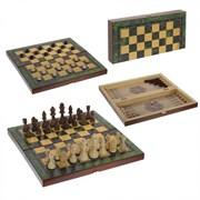 """Игра настольная 3 в 1 """"Малахит"""" (шахматы, шашки, нарды), L39 W19,5 H4,5 см"""