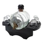 Бочонок для напитков 1000мл с 6 стопками на деревянной подставке, L28 W16 H22 см