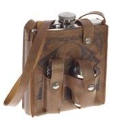 Фляжка в чехле, 500 мл, 4 стопки, нож, L13 W8 H17 см