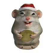 Фигурка декоративная Крыса с монетой 10 рублей (серый) L7 W7 H9 см