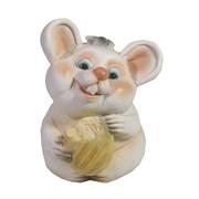 Фигурка декоративная Мышонок Жора (белый) L6,5 W6 H10 см
