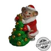 Фигурка декоративная Мышь-Снегурочка с елкой (красный) L5 W3 H6,5 см