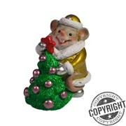 Фигурка декоративная Мышь-Снегурочка с елкой (золото) L5 W3 H6,5 см
