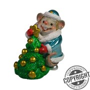Фигурка декоративная Мышь-Снегурочка с елкой (голубой) L5 W3 H6,5 см