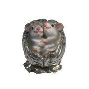 Фигурка декоративная Серые крыски в орешке (серебро) L5 W4 H4 см