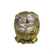 Фигурка декоративная Серые крыски в орешке (золото) L5 W4 H4 см