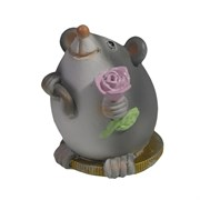 Фигура декоративная Мышонок с розочкой (серый) L5W4H5,5