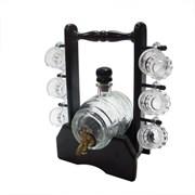 Бочонок для напитков 500 мл с 6 кружками на деревянной подставке 226823