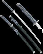 Набор самурайских мечей, 2 шт. Ножны зеленый мрамор