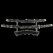 Набор самурайских мечей, 2 шт. Ножны синие с желтым