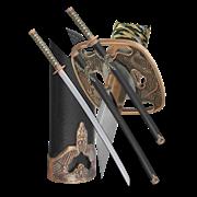 Набор самурайских мечей, 2 шт. Черные ножны D-50013-BK-KA-WA