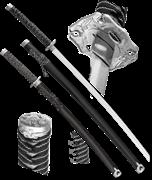 Набор самурайских мечей, 2 шт. Ножны черные D-50024-BK-KA-WA