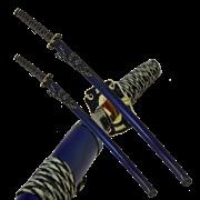 Набор самурайских мечей, 2 шт. Темно-синие ножны