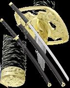 Набор самурайских мечей, 2 шт. Ножны черные D-50024-BK-YL-KA-WA