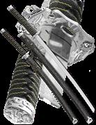 Набор самурайских мечей, 2 шт. Ножны черный мрамор