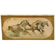 Нарды в деревянной коробке Лошади