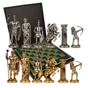Шахматы с фигурами из бронзы Античные войны MP-S-15-28-GRE