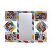 Фоторамка для 6-ти фото с зеркалом, L65 W3 H45 см