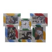 Фоторамка для 5-ти фото с часами, L50 W3 H33 см