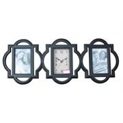 Часы настенные декоративные с фоторамкой для 2-х фото 9*13, L67 W4 H25см