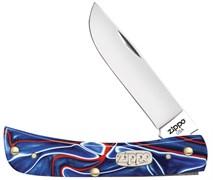 Нож перочинный Зиппо (Zippo) Patriotic Kirinite™ Smooth Sodbuster Jr, 92 мм 50510 + Зажигалка Зиппо (Zippo) 207