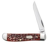 Нож перочинный Зиппо (Zippo) Chestnut Bone Standard Jigged Mini Trapper, 89 мм 50568 + Зажигалка Зиппо (Zippo) 207