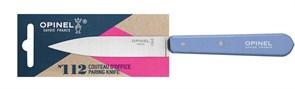 Нож столовый Опинель (Opinel) №112, деревянная рукоять, блистер, нержавеющая сталь, голубой 001917