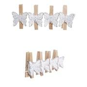 """Украшение новогоднее  """"Прищепка-Бабочка"""" набор из 4 шт, L11,5 W2 H4,5 см"""