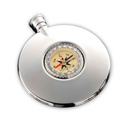 Фляга 95 мл, с компасом, сталь