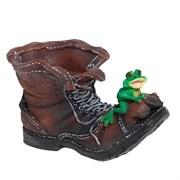 Кашпо декоративное Ботинок великана с лягушкой L47W27H27 см.