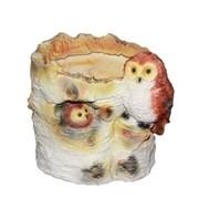 Кашпо декоративное Пенек березовый с совой L16W13H15 см.