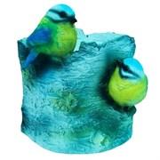 Кашпо декоративное Пень березовый с птичками L13W13H14 см.