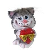 Копилка Котик с сердцем серый чуб L9.5W9H13см