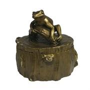 Шкатулка Лягушка на пне (золото) L11W11H11