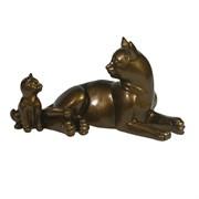 Фигура I Кошка с котенком глянец цвет: темное золото L17W9H9см