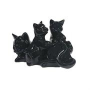 Фигура декоративная Кошка с котятами цвет: черный глянец L17W12H11см