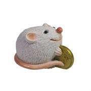 Фигурка декоративная Денежная Мышка (белый) L5,5 W3,5 H3,5 см